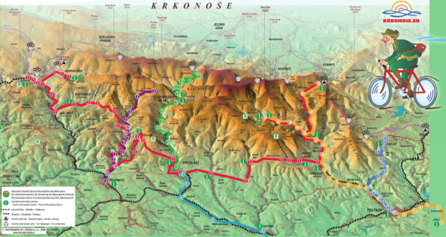 Mapa tras krkonošských syklobusů